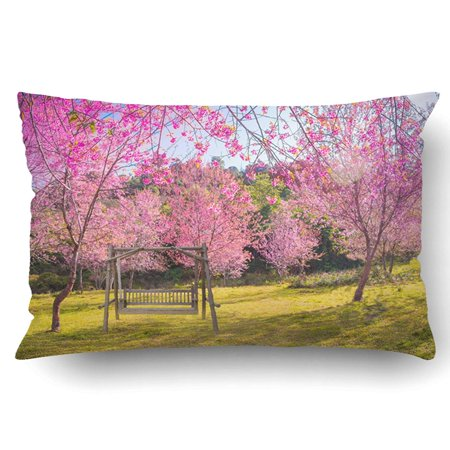BSDHOME The Wood Swing In Garden Beautiful Pink Cherry Blossom Flower On Sunshine Day Pillowcase Pillow Cushion Cover 20x30 inch - image 1 of 1