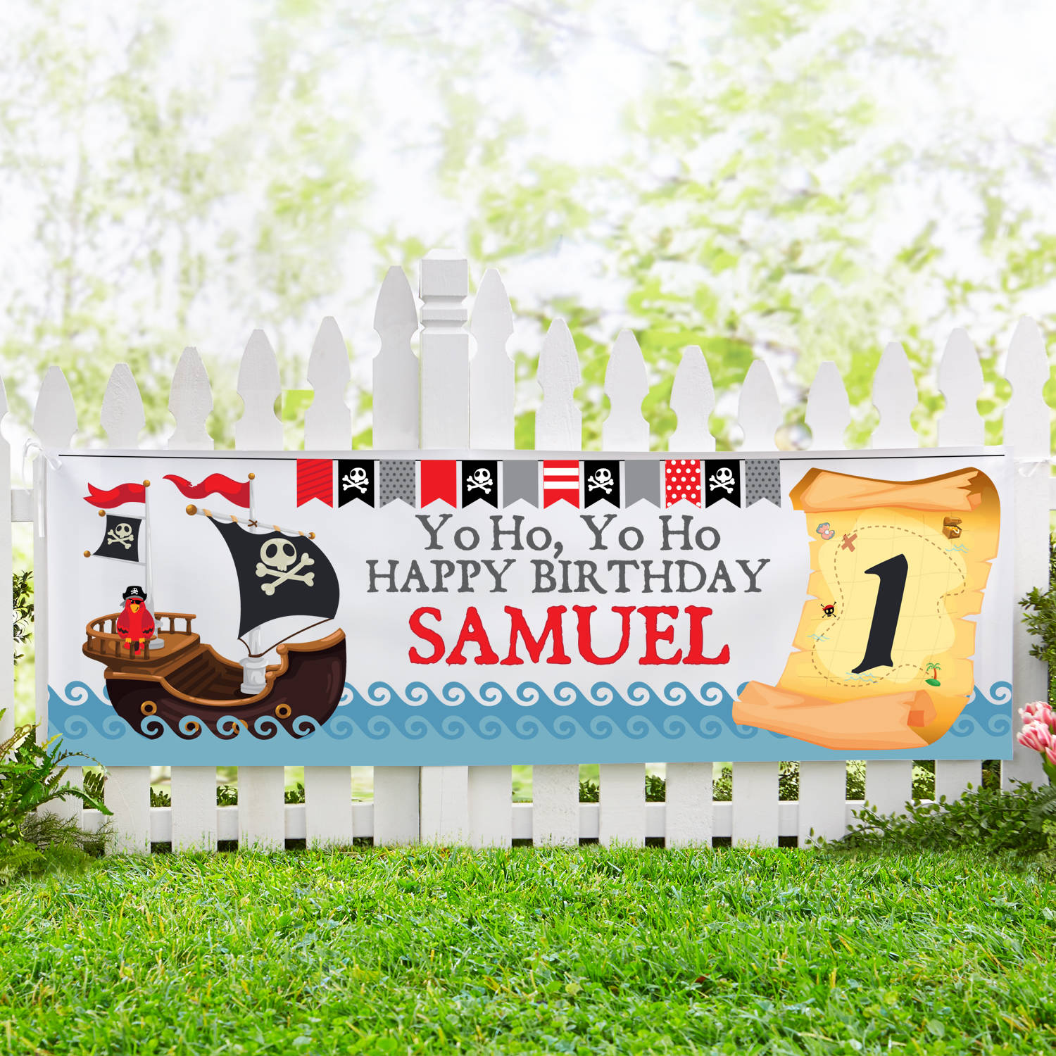Personalized Buccaneer Birthday Banner