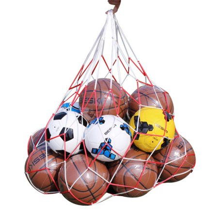 Soccer Corner Flag Carry Bag - 7-10 Balls Carry Mesh Net Bag Holds Sport Basketball Soccer Storage Pouch