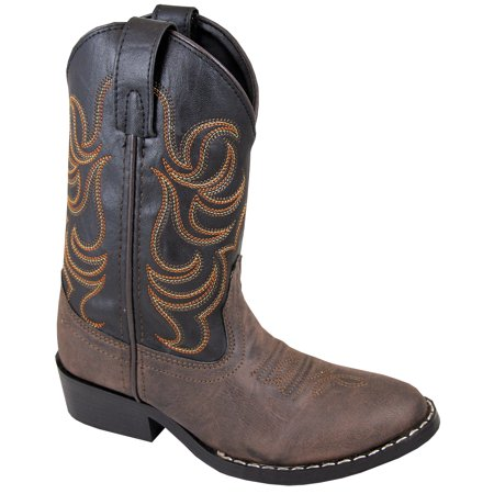 Smoky Mountain Children Boys Monterey Western Cowboy Boots Brown/Black, (The Best Construction Boots)