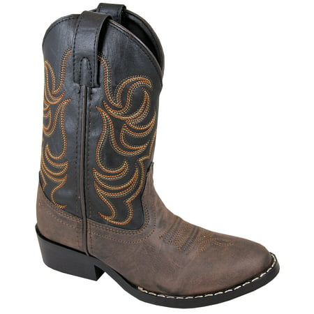 Smoky Mountain Children Boys Monterey Western Cowboy Boots Brown/Black,