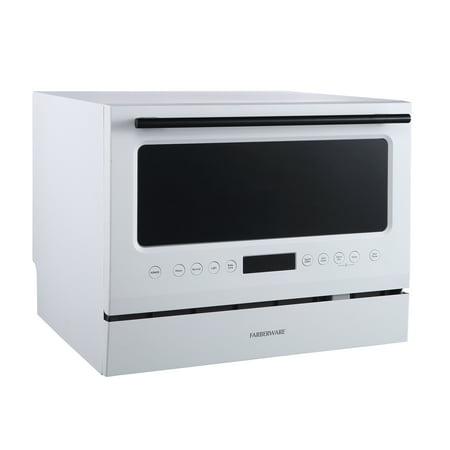 Farberware Professional 6 Piece Countertop Dishwasher, Glass Door White
