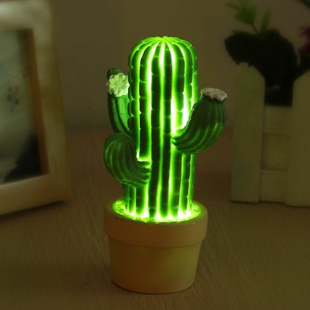 Cactus Night Light LED Energy Saving Table Lamp Living Room Home Decor Photography Props Accessories ()