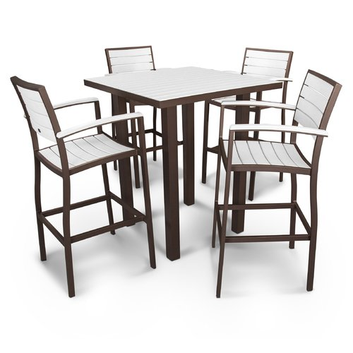 POLYWOOD Euro 5 Piece Bar Height Dining Set