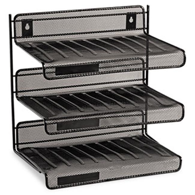 Eldon Office Products 22341 Mesh Three-Tier Letter Size Desk Shelf, 12 1/2 x 9 1/4 x 12 1/2, Black