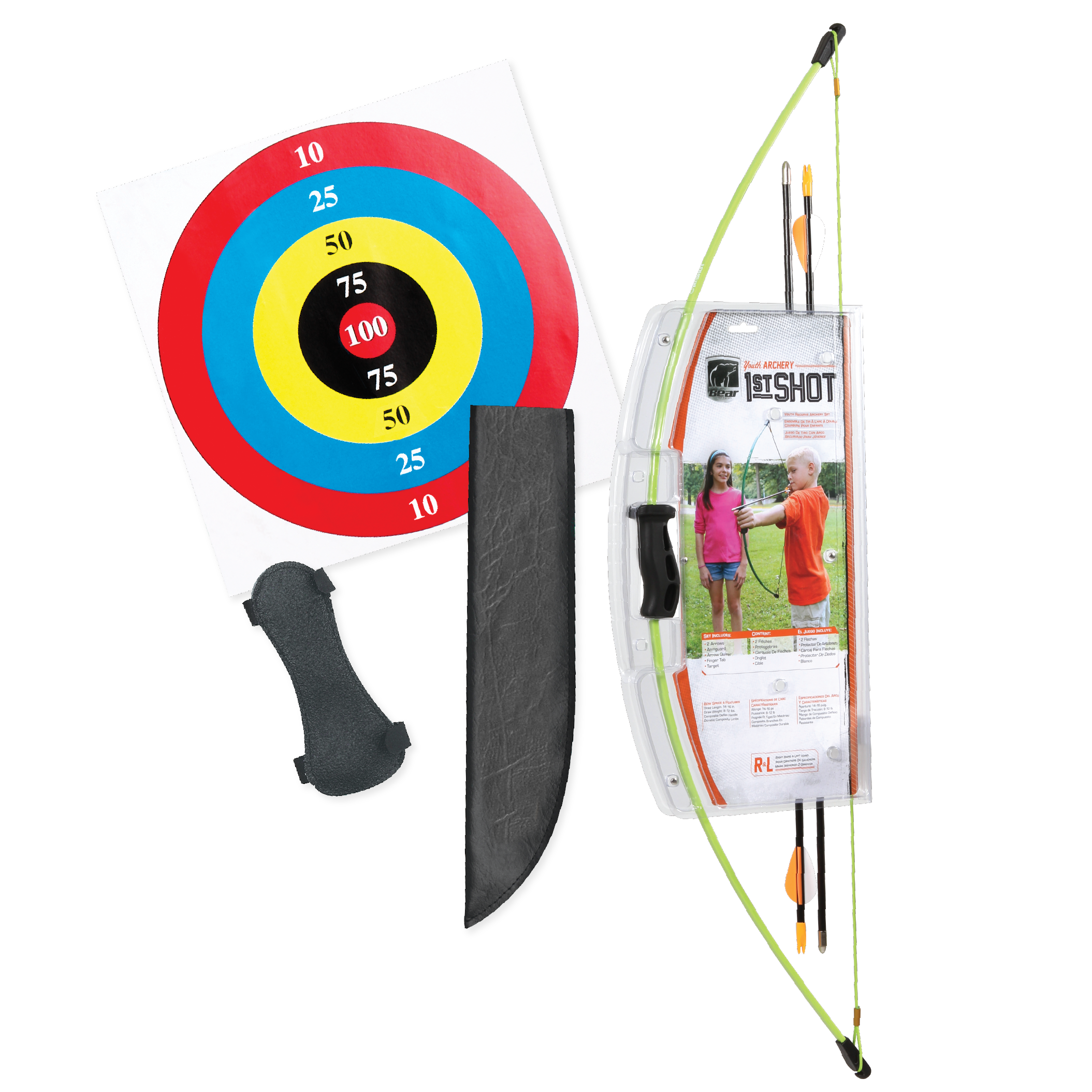 Bear Archery 1st Shot Youth Bow Set in Flo Green by Escalade Sports