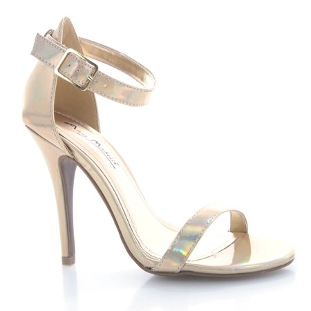 Enzo01X by Anne Michelle, Gold Iridescent Stiletto Sandal Strap Ankle Dance Prom Dress Heel