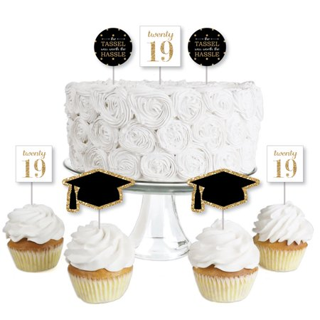 Gold - Tassel Worth The Hassle - Dessert Cupcake Toppers - 2019 Graduation Party Clear Treat Picks - Set of 24](Graduation Desserts)