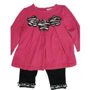 Baby Girls Pink Flower Applique Ruffle 2 Pc Leggings Set 12-24M