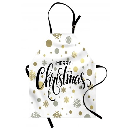 Christmas Apron Merry Christmas Stylized Lettering on Abstract Modern Snowflake Dot Pattern, Unisex Kitchen Bib Apron with Adjustable Neck for Cooking Baking Gardening, Gold Taupe Black, by Ambesonne
