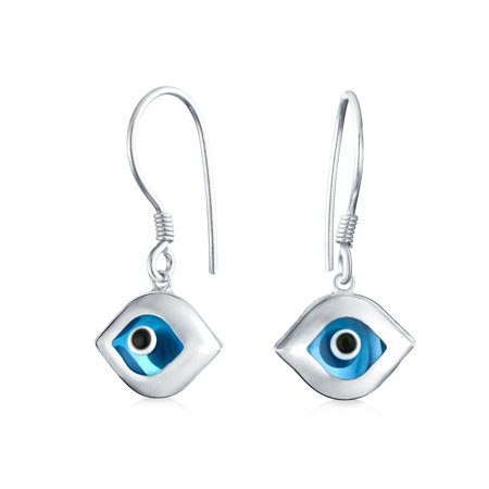 Blue Nazar Evil Eye Shaped Spiritual Protection Drop Earrings For Women Teen Murano Glass 925 Sterling Silver