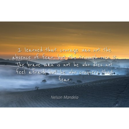 Nelson Mandela - I learned that courage was not the absence of fear, but the triumph over it. The brave man is not he who does not feel afraid, but he who - Famous Quotes Laminated POSTER PRINT