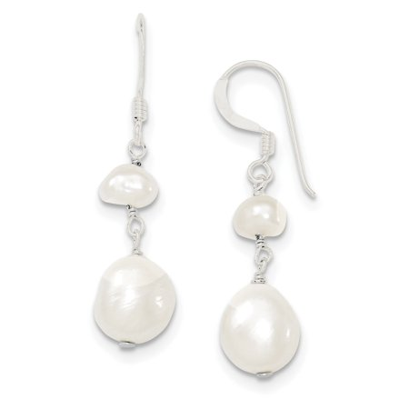 Sterling Silver White FW Cultured Pearl Dangle Earrings 0.7grams (L 40mm W 9mm)Polished | Sterling silver | Dyed | Freshwater cultured pearl | Shepherd hook | Dangle ()