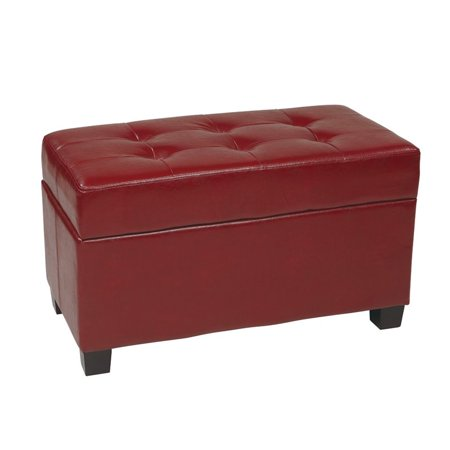 Office Star Products Designs Metro Storage Ottoman, Crimson Red, Faux Leather