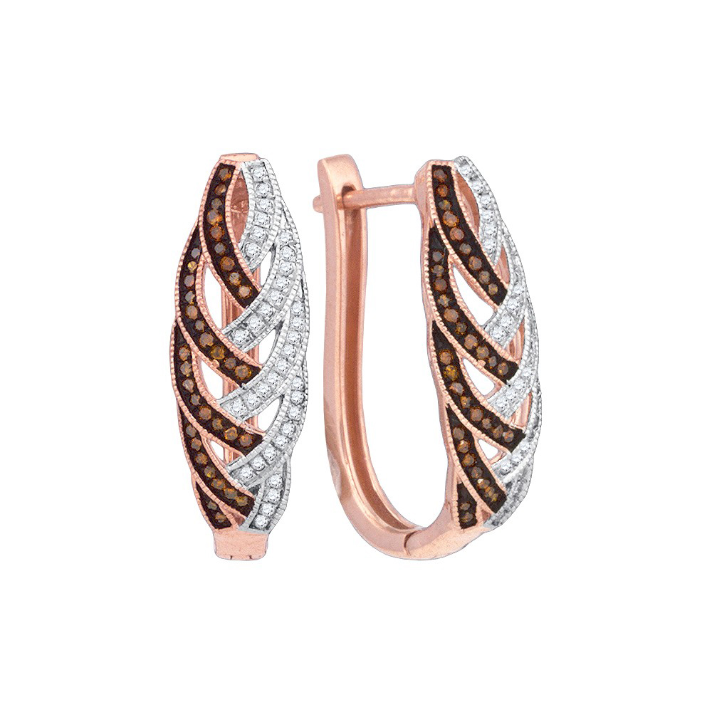 10kt Rose Gold Womens Round Red Colored Diamond Hoop Luxury Earrings 1/3 Cttw = .33 Cttw (I3 Clarity, round cut)