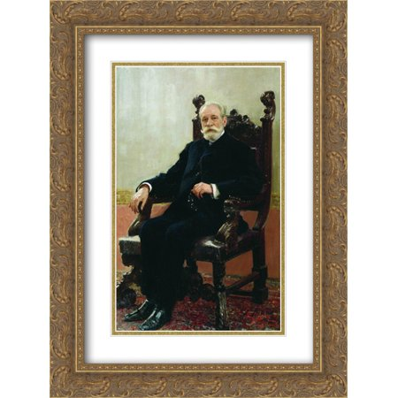 Ilya Repin 2X Matted 18X24 Gold Ornate Framed Art Print Portrait Of The Chairman Of The Azov Don Commercial Bank In St  Petersburg  A B  Nenttsel