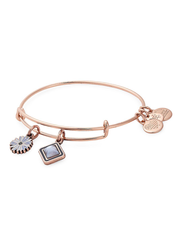 Life Rose Goldtone Charm Bangle Bracelet