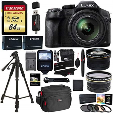 "Panasonic FZ300 LUMIX DMC 4K Point & Shoot Camera Leica DC Lens 24X Zoom + Wide Angle & Telephoto Lens + 64GB + 57"" Tripod + Ritz Gear Bag + 2 Batteries + Charger + Filter + Polaroid Accessory Kit"