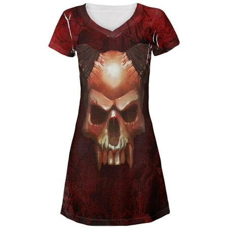 Motel Hell Costume (Halloween Horned Demon Skull From Hell All Over Juniors V-Neck)
