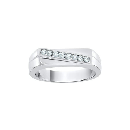 Diamond Men's Ring in 14K White Gold (1/4 cttw) (I-Color, SI3-I1 Clarity) (Size-8.75)
