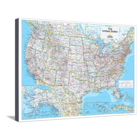 2014 United States Political - National Geographic Atlas of the World, 10th Edition Map Stretched Canvas Print Wall Art By National Geographic Maps