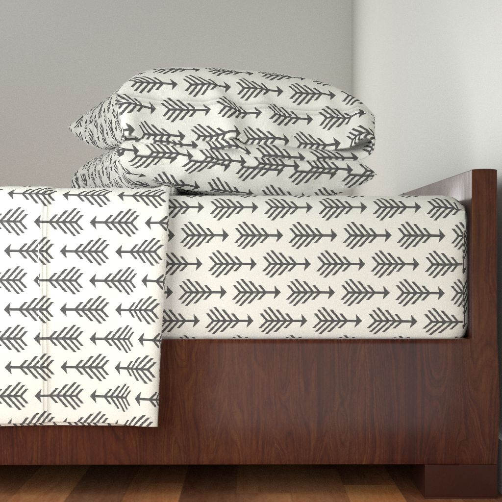 Arrows Tribal Hip Geometric Gray Black 100% Cotton Sateen Sheet Set by Roostery