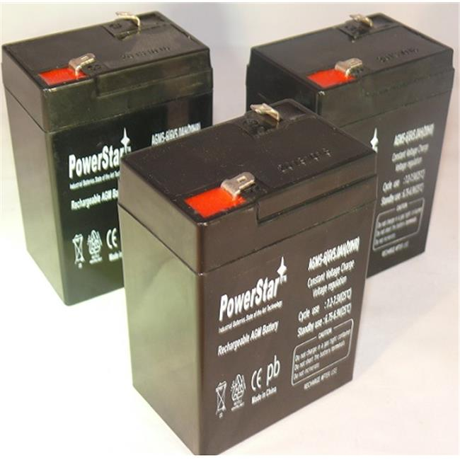 PowerStar AGM5-6-3Pack 3 - 6V, 5Ah Sealed Lead Acid Battery Replacement For Alarms, ATVs & Motorcycles Spill Proof