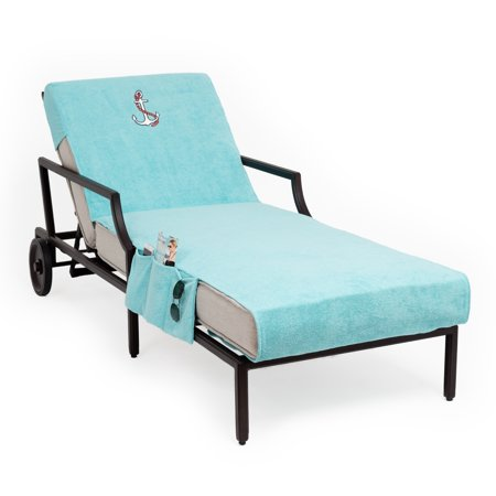 Authentic Hotel and Spa Authentic Turkish Cotton Embroidered Anchor Aqua Towel Cover with Pocket for Standard Chaise Lounge Chair