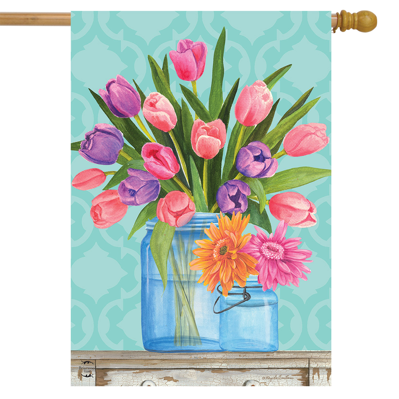 "Fresh Cut Flowers Spring House Flag Tulips Mason Jars 28"" x 40"" Briarwood Lane"