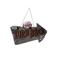 """74"""" Brown and Gray Light Up """"TURN BACK"""" Hanging Sign Halloween Decoration"""