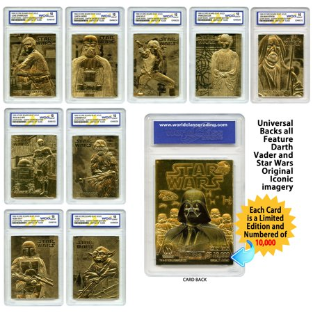 STAR WARS Set of 9 Official 23K Gold Cards Graded Gem-Mint 10 DARTH VADER - Darth Vader Helmet Price