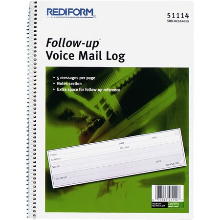 Rediform, RED51114, Follow-Up Voice Mail Log Book, 1 Each
