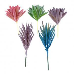 Fancyleo 5 Pcs Mixed Artificial Succulents Pots Plants Simulation Cactus Cacti DIY Materials Decorative Plastic