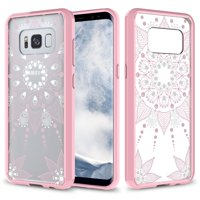 Galaxy S8 Case, Ultra Thin Scratch Resistant Hybrid Case for Samsung Galaxy S8 - Pink Henna Mandala Floral Lace