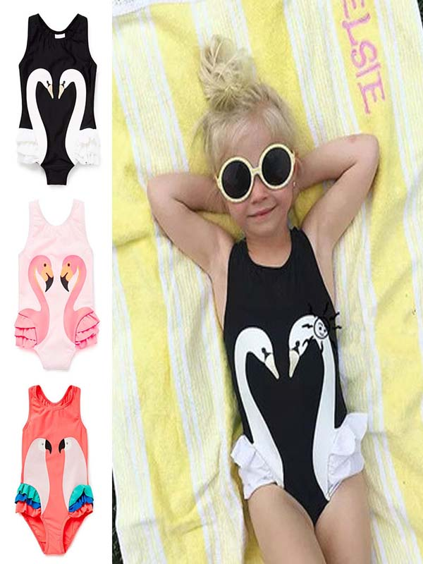 Swimsuits for Girls, Coxeer Summer Cute Bathing Suits One Piece Swimsuit Cartoon Animal Printed Swimwear with Cap Beach Wear for Kids Children