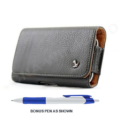 Pebble Texture Leather Design Horizontal Belt Clip Magnetic Closing Flap Holster Pouch Case for iPhone 5 (New 4G LTE for All Carrier) + A.., By Long Arch Apple iPhone 5 5S