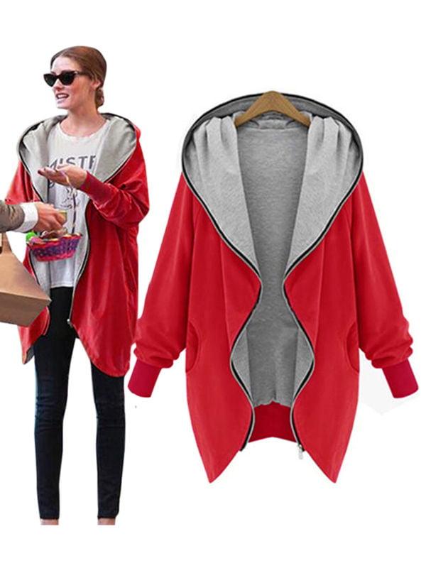 Womens Hoodie Sweatshirt Jacket Coat Hooded Cardigan Top Parka Outwear Plus Size