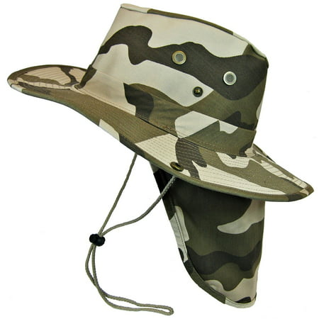 Boonie Bush Safari Outdoor Fishing Hiking Hunting Boating Snap Brim Hat Sun Cap with Neck Flap (Desert Camo, L), 3 Brim & Neck Flap protects from the SUN By S And W From USA