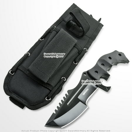 "10"" CS Go Huntsman Tactical Bowie Fixed Blade Knife with Black Blade and Pouch thumbnail"