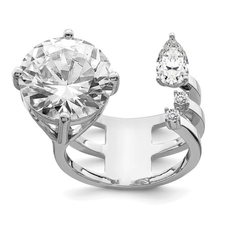 925 Sterling Silver Rhodium-plated Cubic Zirconia Adjustable Ring - image 5 of 5