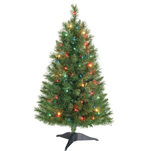 Holiday Time Pre-Lit 3' Winston Pine Artificial Christmas Tree, Multi-Color Lights
