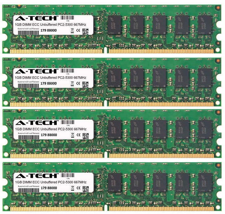 4GB Kit 4x 1GB Modules PC2-5300 667MHz ECC Unbuffered DDR2 DIMM Server 240-pin Memory Ram
