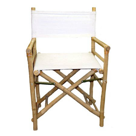 Bamboo54 Folding Bamboo Low Directors Chair with Canvas Cover - Set of (White Canvas Directors Chair)