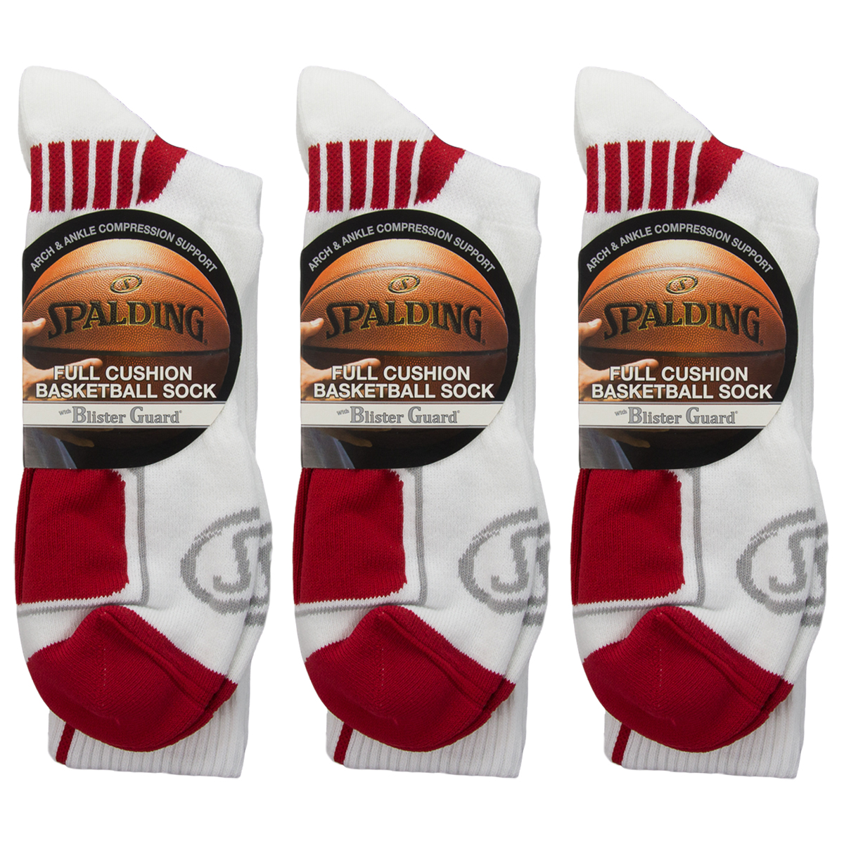 3 Pairs Spalding Mens Cushion Compression Support Athletic Basketball Crew Socks