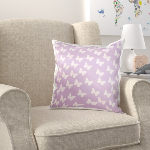 Zoomie Kids Briones Butterflies on Lavender Nature Whimsical Art Pillow Cover