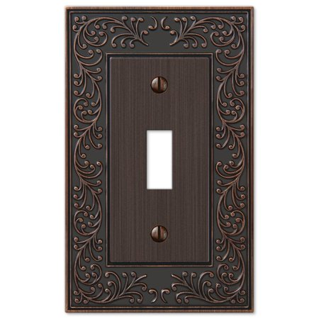 French Garden Single Toggle Switch Wall Plate Outlet Cover, Oil Rubbed Bronze ()