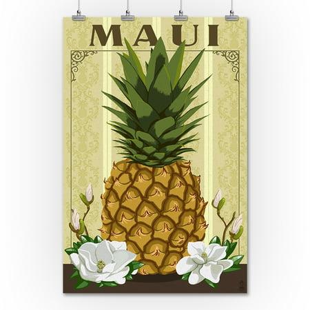 Maui - Colonial Pineapple - Lantern Press Artwork (36x54 Giclee ...