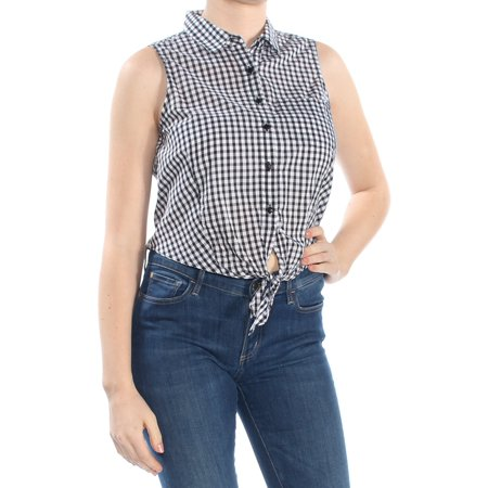 GUESS Womens Black Gingham Print Tie Hem Sleeveless Collared Button Up Top  Size: - Guess Print Tie