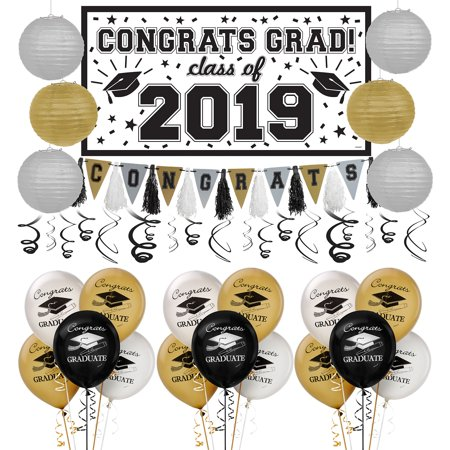 Party City Black, Gold, and Silver Graduation Decoration Party Kit, With Swirls - Working At Party City