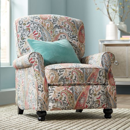 Elm Lane Ethel Coral Paisley Push Back Recliner Chair